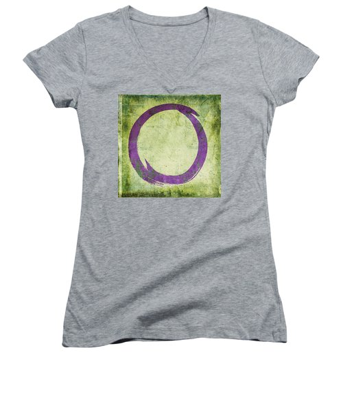 Enso No. 108 Purple On Green Women's V-Neck T-Shirt (Junior Cut)