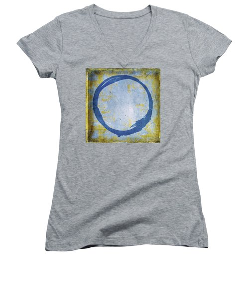 Enso No. 109 Blue On Blue Women's V-Neck T-Shirt (Junior Cut)