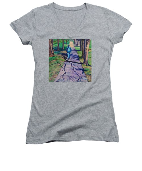 Women's V-Neck T-Shirt (Junior Cut) featuring the painting Entanglement On Highway 98' by Ecinja Art Works