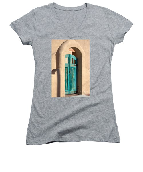 Women's V-Neck T-Shirt (Junior Cut) featuring the photograph Enter Turquoise by Barbara Chichester