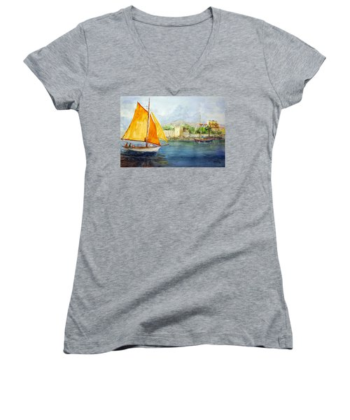 Entering The Port - Foca Izmir Women's V-Neck T-Shirt