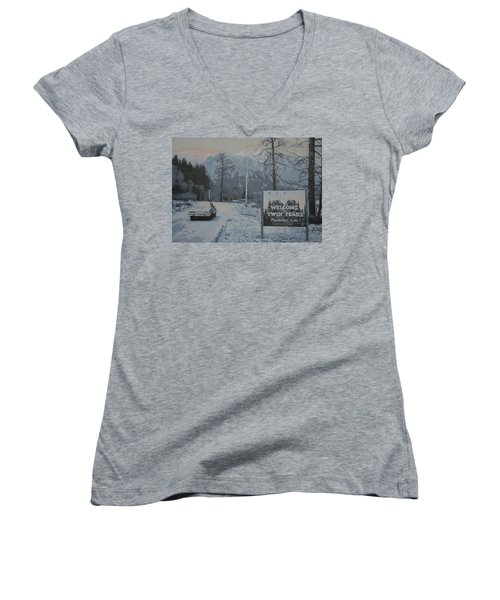Women's V-Neck T-Shirt (Junior Cut) featuring the painting Entering The Town Of Twin Peaks 5 Miles South Of The Canadian Border by Luis Ludzska
