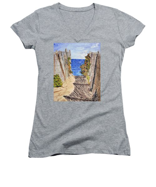 Entrance To Summer Women's V-Neck T-Shirt (Junior Cut) by Michael Daniels