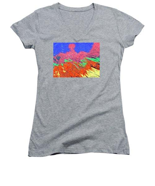 Erupting Lava Meets The Sea Women's V-Neck T-Shirt (Junior Cut) by Joseph Baril