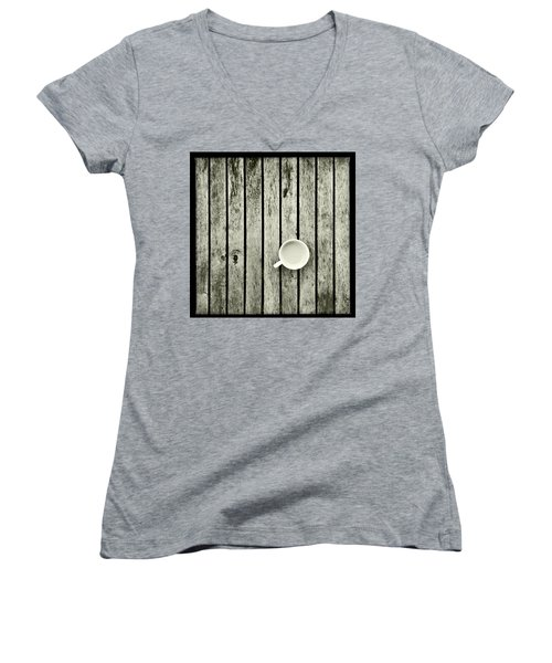 Espresso On A Wooden Table Women's V-Neck T-Shirt