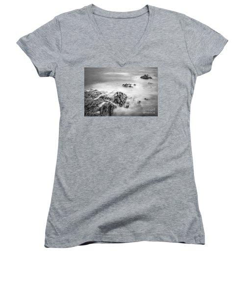Women's V-Neck T-Shirt (Junior Cut) featuring the photograph Estacas Beach Galicia Spain by Pablo Avanzini