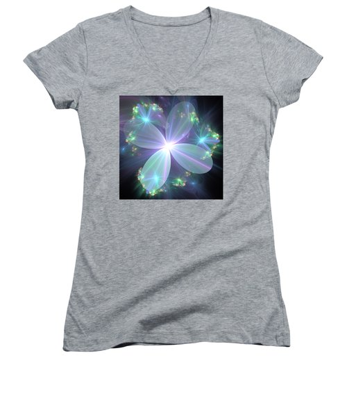 Women's V-Neck T-Shirt (Junior Cut) featuring the digital art Ethereal Flower In Blue by Svetlana Nikolova
