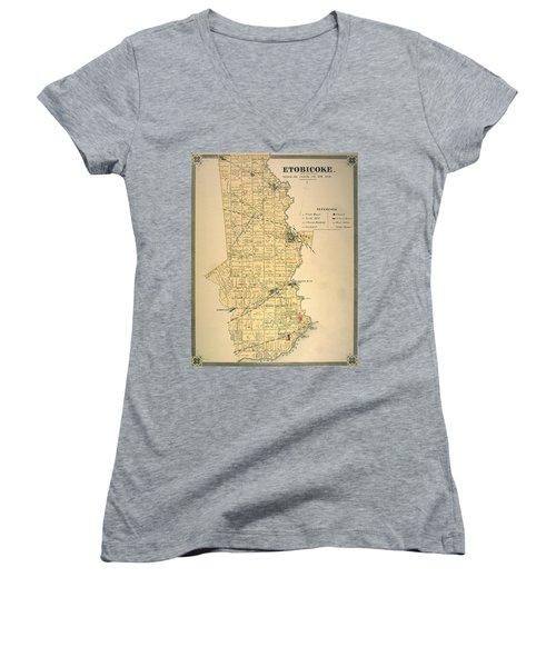 Etobicoke Map 1878 Women's V-Neck