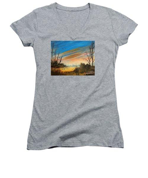Evening Duck Hunt Women's V-Neck T-Shirt (Junior Cut) by Bill Holkham