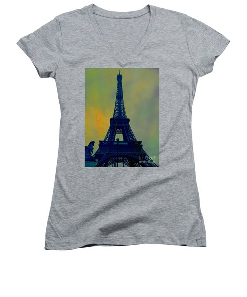 Evening Eiffel Tower Women's V-Neck (Athletic Fit)