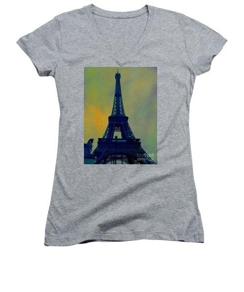 Evening Eiffel Tower Women's V-Neck T-Shirt