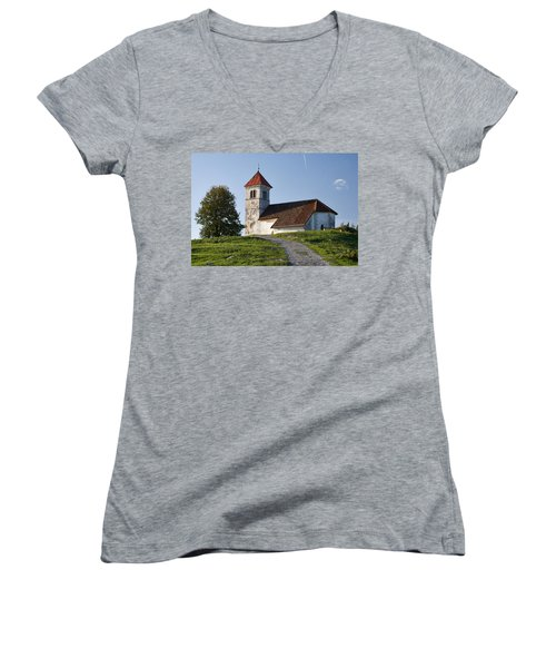 Evening Glow Over Church Women's V-Neck