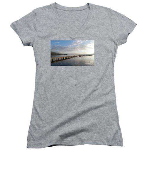 Women's V-Neck T-Shirt (Junior Cut) featuring the photograph Evening - Lake Ohrid - Macedonia by Phil Banks