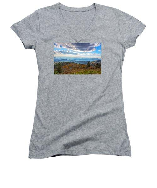 Evening On The Blue Ridge Parkway Women's V-Neck T-Shirt (Junior Cut) by John Haldane