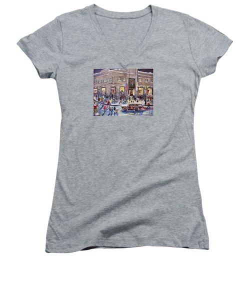 Evening Shopping At Grover Cronin Women's V-Neck T-Shirt (Junior Cut) by Rita Brown