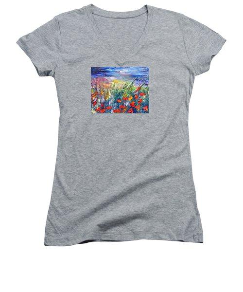 Evening Women's V-Neck T-Shirt (Junior Cut) by Teresa Wegrzyn