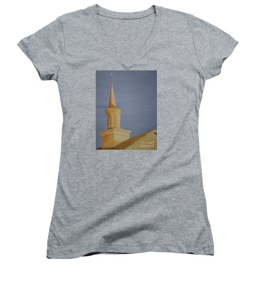 Women's V-Neck T-Shirt (Junior Cut) featuring the painting Evening Worship by Stacy C Bottoms