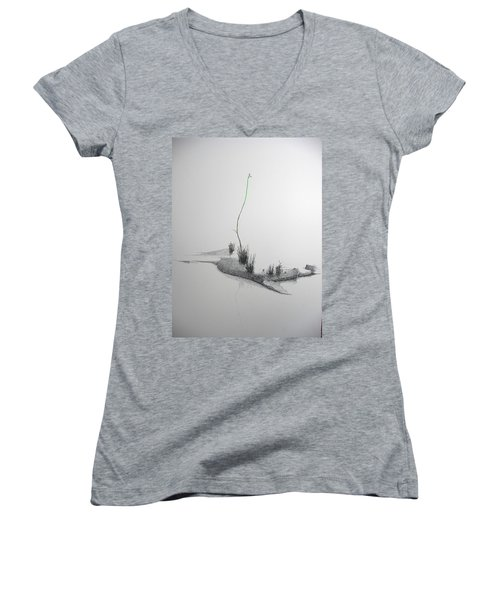 Women's V-Neck T-Shirt (Junior Cut) featuring the painting Evocation by A  Robert Malcom