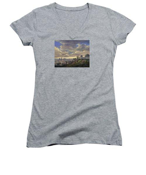 Expecting Rain Women's V-Neck T-Shirt (Junior Cut) by Jane Thorpe