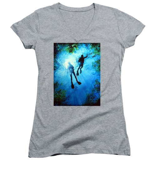 Women's V-Neck (Athletic Fit) featuring the painting Exploring New Worlds by Hanne Lore Koehler