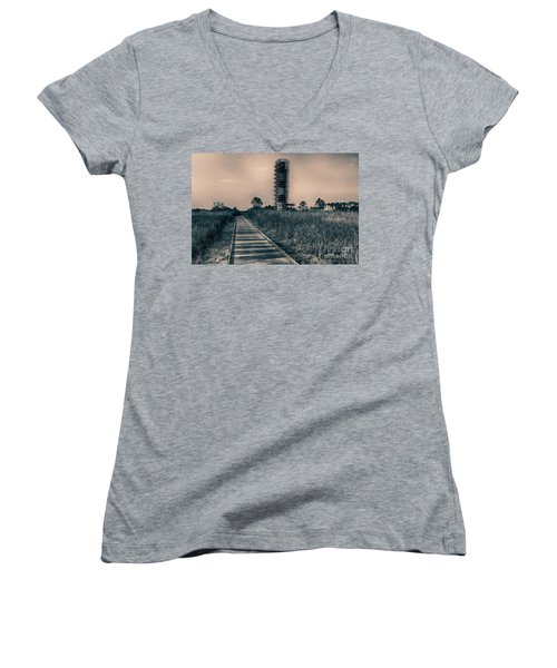 Extreme Makeover Lighthouse Edition Women's V-Neck T-Shirt (Junior Cut) by Tony Cooper