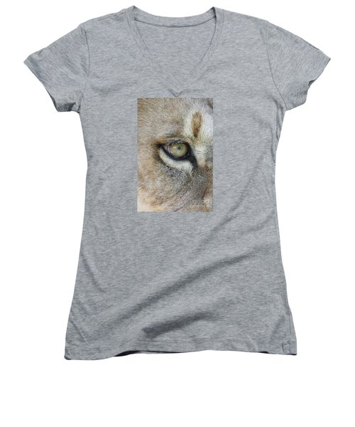 Women's V-Neck T-Shirt (Junior Cut) featuring the photograph Eye Of The Lion by Judy Whitton