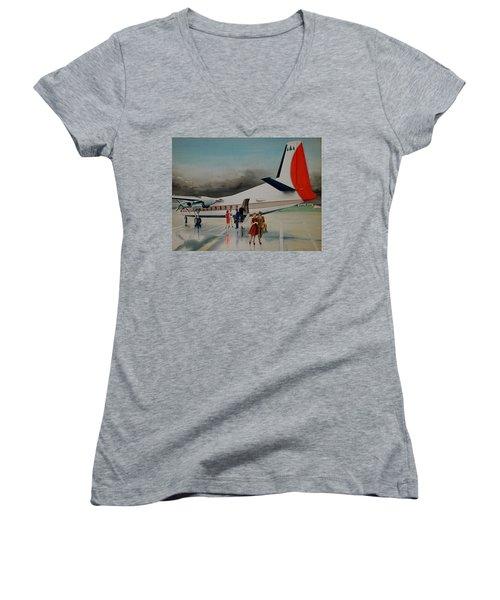 F-27 At Columbus Ohio Women's V-Neck T-Shirt (Junior Cut) by Frank Hunter