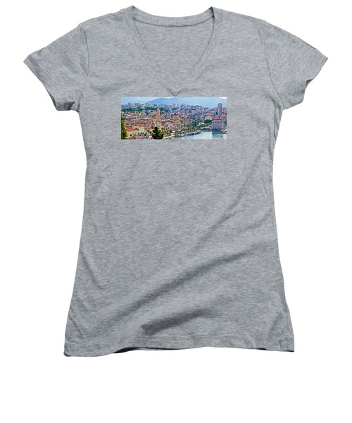 Fabulous Split Waterfront Aerial Panorama Women's V-Neck T-Shirt (Junior Cut) by Brch Photography