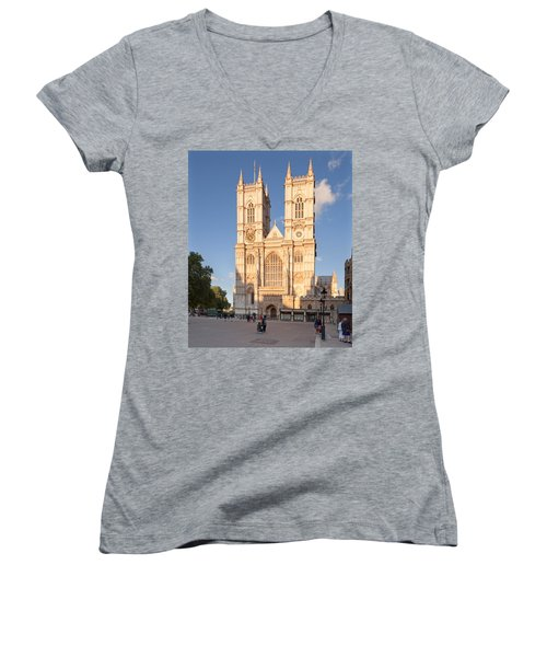 Facade Of A Cathedral, Westminster Women's V-Neck T-Shirt (Junior Cut) by Panoramic Images
