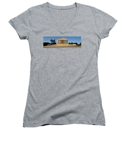 Facade Of A Memorial, Jefferson Women's V-Neck T-Shirt (Junior Cut) by Panoramic Images
