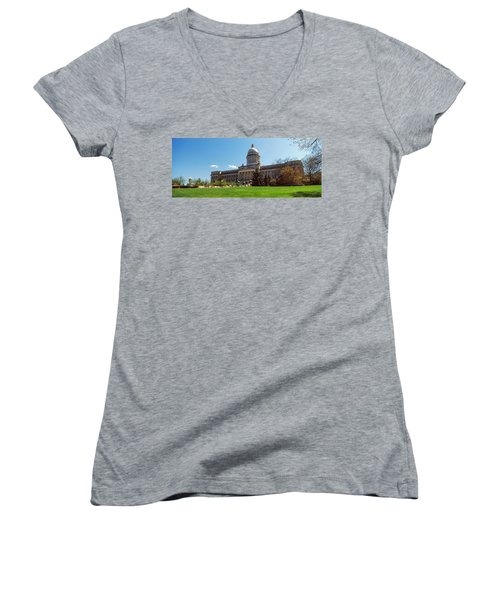 Facade Of State Capitol Building Women's V-Neck T-Shirt (Junior Cut) by Panoramic Images