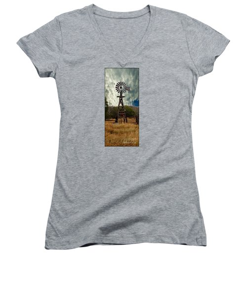 Face The Wind - Windmill Photography Art Women's V-Neck T-Shirt (Junior Cut) by Ella Kaye Dickey