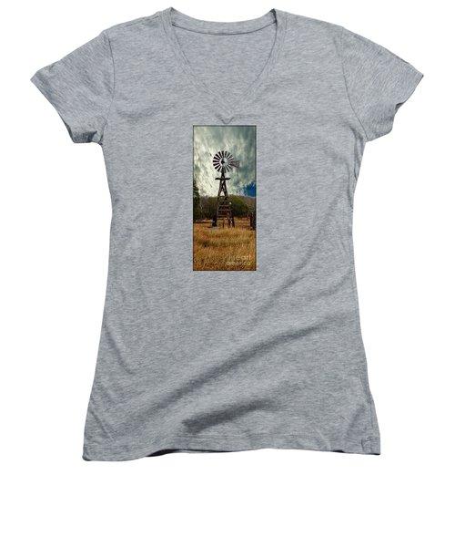 Face The Wind - Windmill Photography Art Women's V-Neck T-Shirt (Junior Cut)