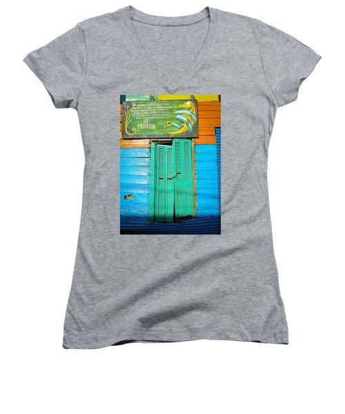 Women's V-Neck T-Shirt (Junior Cut) featuring the photograph Fachada De Conventillo by Silvia Bruno