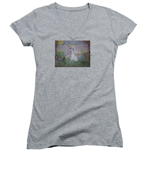 Fairy Wedding Women's V-Neck T-Shirt (Junior Cut) by Judith Desrosiers