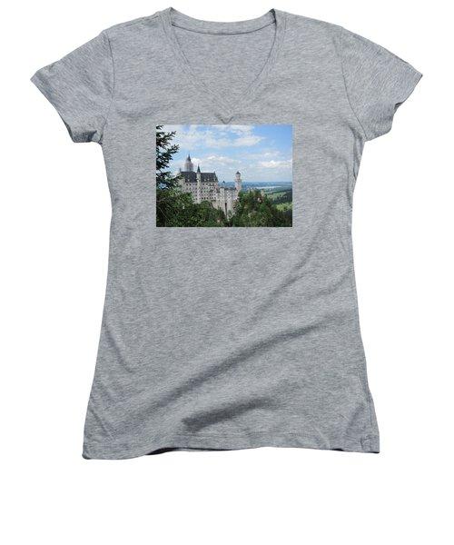 Women's V-Neck T-Shirt (Junior Cut) featuring the photograph Fairytale Castle by Pema Hou