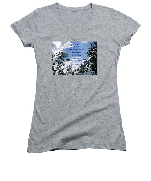 Women's V-Neck T-Shirt (Junior Cut) featuring the photograph Faith by Aimee L Maher Photography and Art Visit ALMGallerydotcom