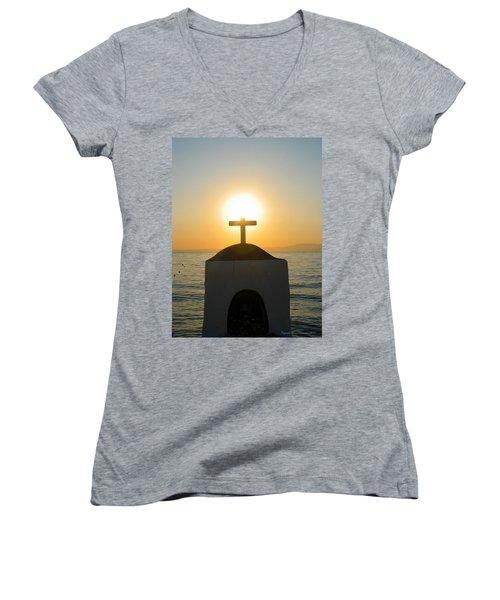 Women's V-Neck T-Shirt (Junior Cut) featuring the photograph Faith by Leena Pekkalainen