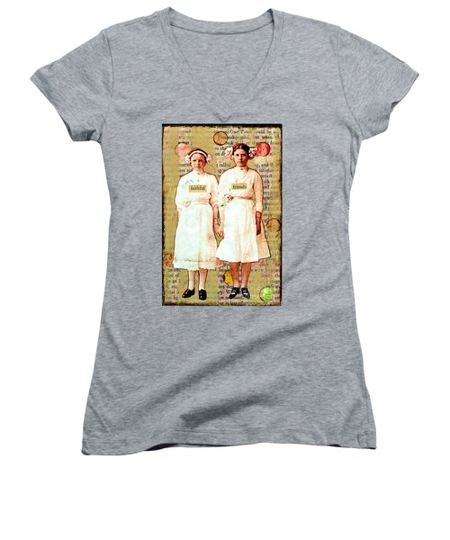 Women's V-Neck T-Shirt (Junior Cut) featuring the mixed media Faithful Friends by Desiree Paquette