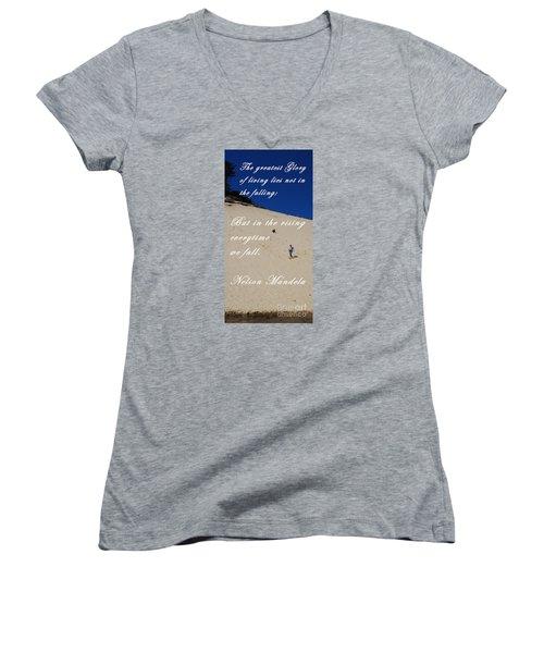 Fall And Rise Women's V-Neck T-Shirt (Junior Cut) by Sharon Elliott