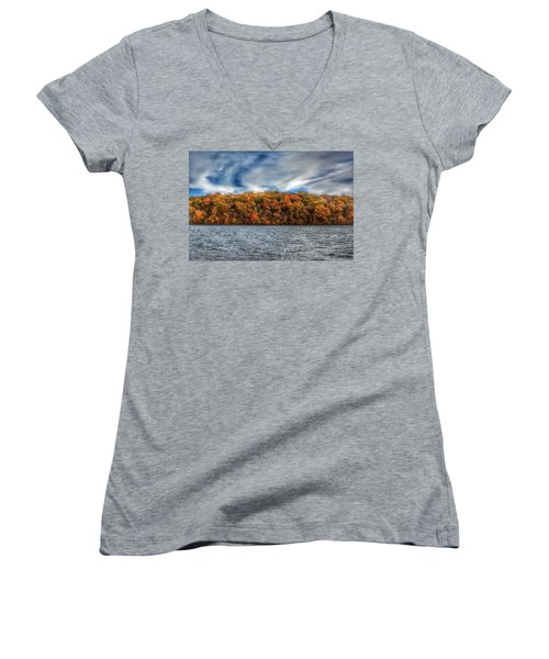 Fall At The Lake Women's V-Neck (Athletic Fit)