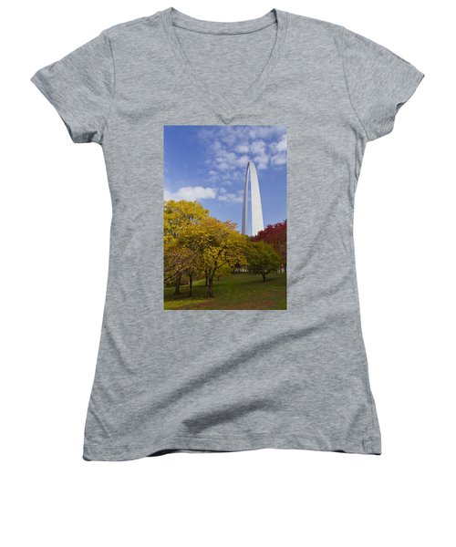 Fall At The St Louis Arch Women's V-Neck (Athletic Fit)