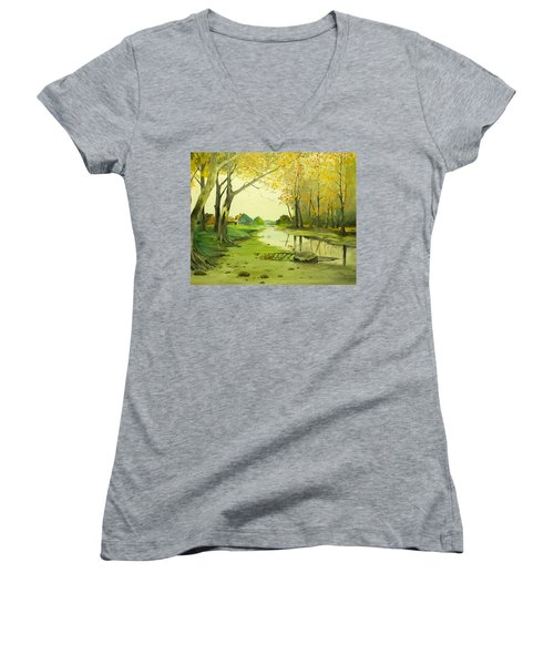 Fall By The Stream By Merlin Reynolds Women's V-Neck