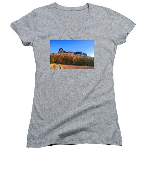 Fall Colors Around The Lilienstein Women's V-Neck