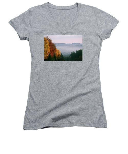 Fall Morning Women's V-Neck T-Shirt (Junior Cut) by David Porteus