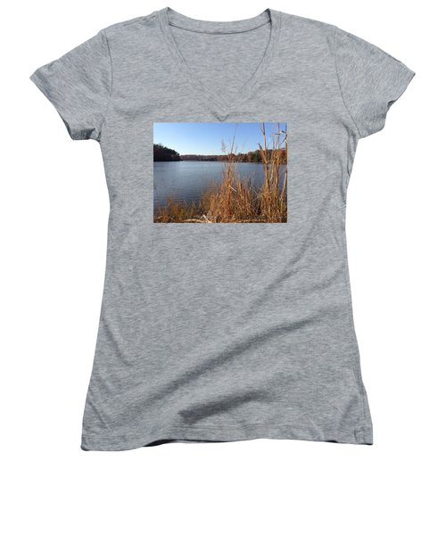 Women's V-Neck T-Shirt featuring the photograph Fall On The Creek by Charles Kraus