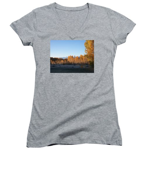 Women's V-Neck T-Shirt (Junior Cut) featuring the photograph Fall On The River by Jewel Hengen