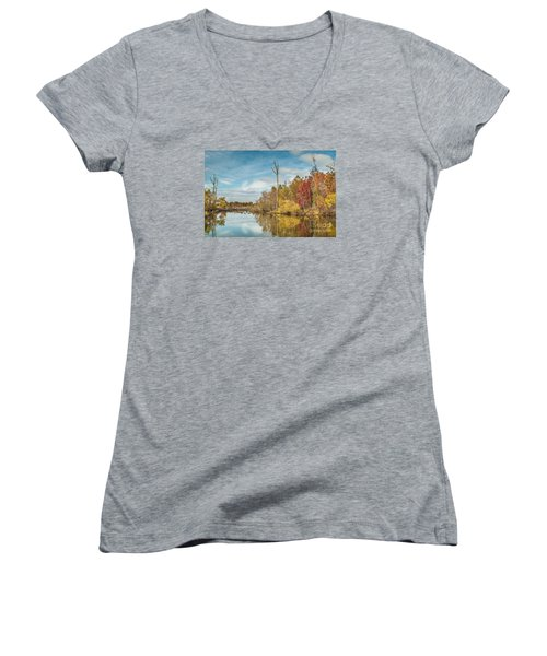 Women's V-Neck T-Shirt (Junior Cut) featuring the photograph Fall Pond by Debbie Green