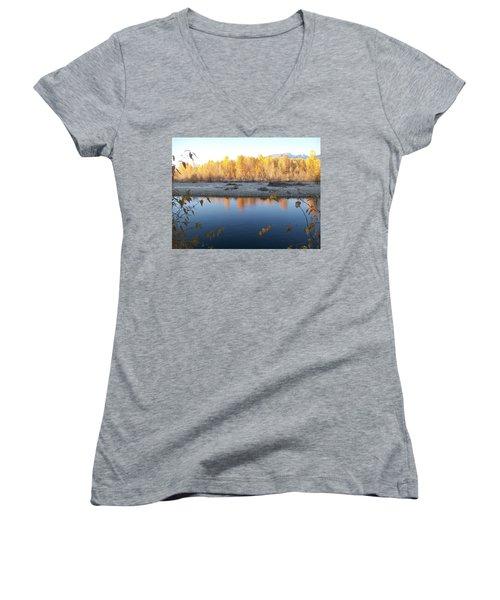 Women's V-Neck T-Shirt (Junior Cut) featuring the photograph Fall Reflection 2 by Jewel Hengen