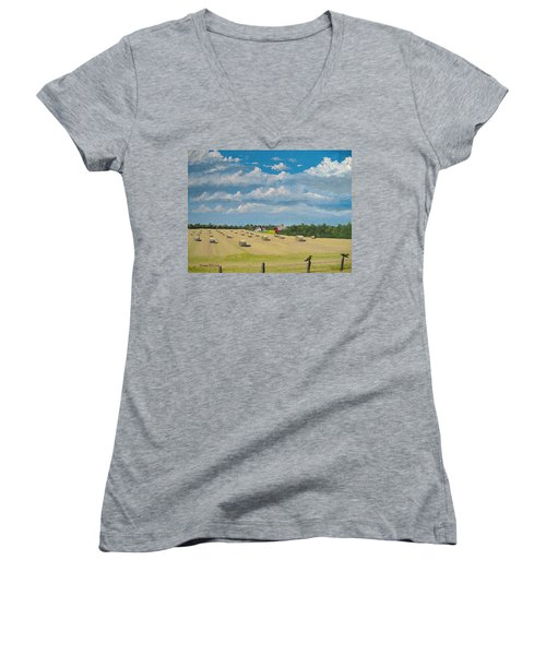 Fall Rounds Women's V-Neck T-Shirt (Junior Cut) by Norm Starks